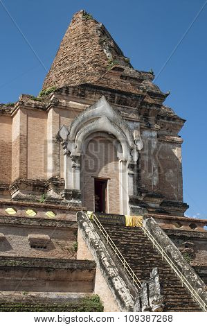 historical monument of Buddhist temple Wat Chedi Luang in Chiang Mai province of Thailand