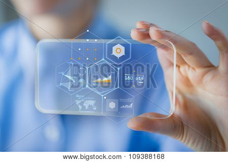 business, technology, satistics and people concept - close up of woman hand holding and showing transparent smartphone screen with diagram chart