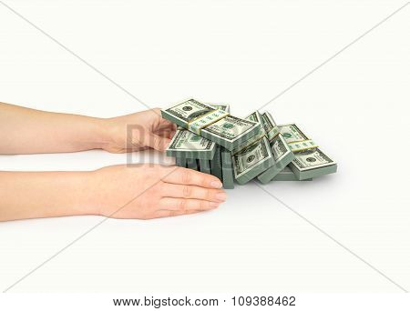 Hands With Stack Of Dollars Bills Isolated