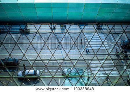 Modern airport terminal facade