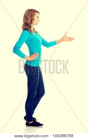 Side view of woman ready to handshake.