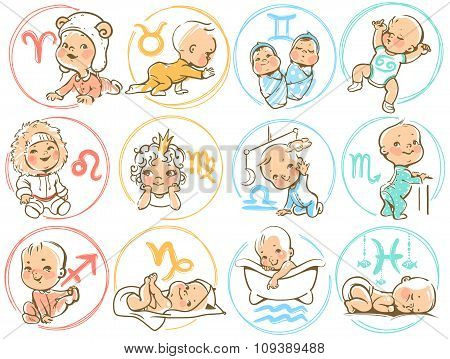 Baby Zodiac. Horoscope Sighns As Cartoon Kids