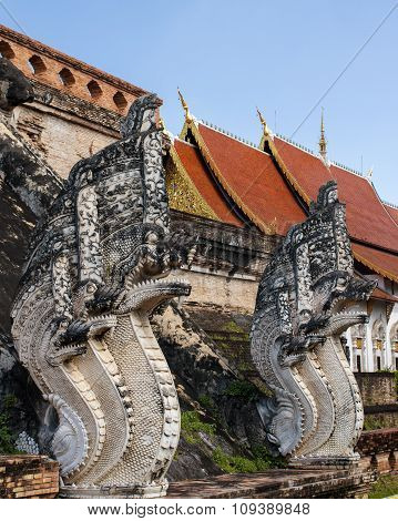 sculpture mythical serpent Naga near a Buddhist temple in Thailand's Krabi province
