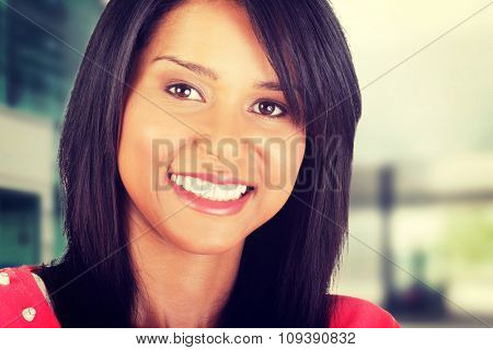 Young beautiful happy woman portrait
