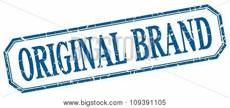 Original Brand Square Blue Grunge Vintage Isolated Label