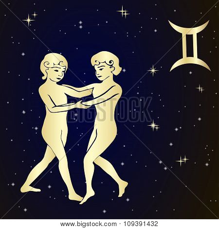Zodiac Gemini is the starry sky