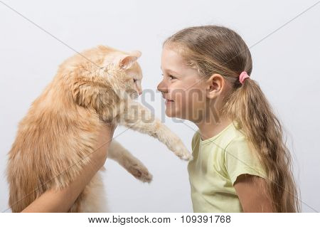 Four-year Girl Gave The Cat