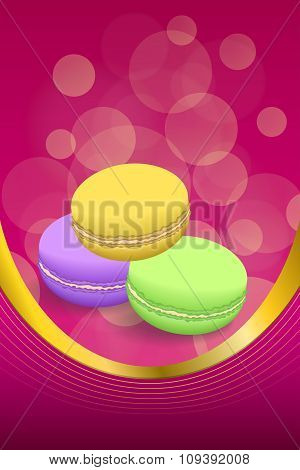 Abstract background pink macaroon yellow violet purple green vertical frame illustration vector