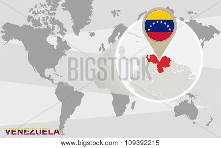 World Map With Magnified Venezuela