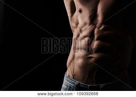 Torso of attractive muscular young man