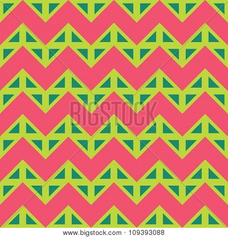 Vector modern seamless colorful geometry chevron lines pattern color pink green abstract