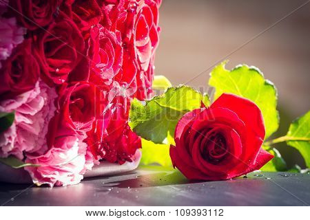 Rose Fresh Red Color And Beautiful On The Marble Table