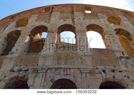 Close Up From Colosseum At Rome Italy Europe