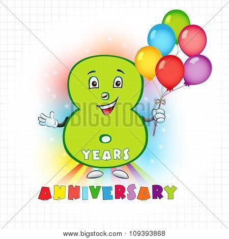 8 anniversary funny logo.
