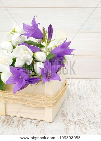 English Dogwood And Bellflowers Bouquet In The Wooden Box