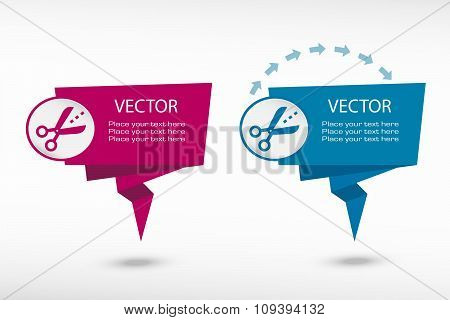 Scissors Icon With Cut Lines On Origami Paper Speech Bubble Or Web Banner, Prints
