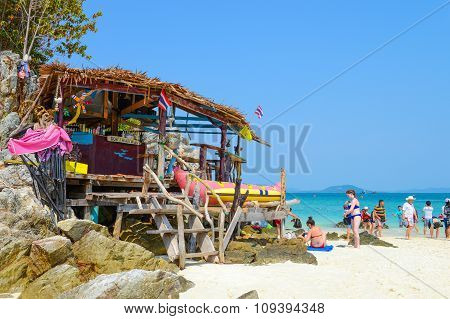 Baboo Bar And People Relaxing On The Beach