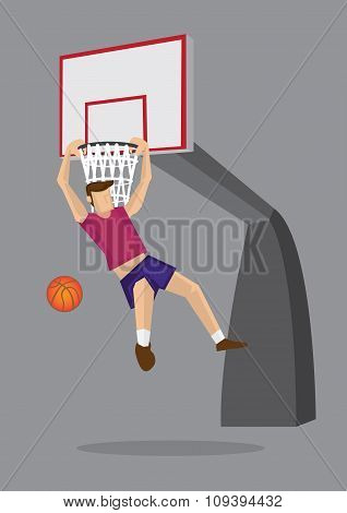 Basketball Player Elbow Hang Dunk Vector Illustration