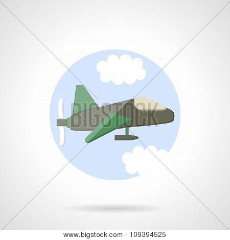 Aeroplane flat round vector icon