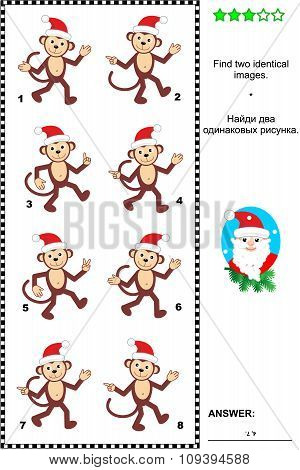 Picture puzzle with christmas monkeys