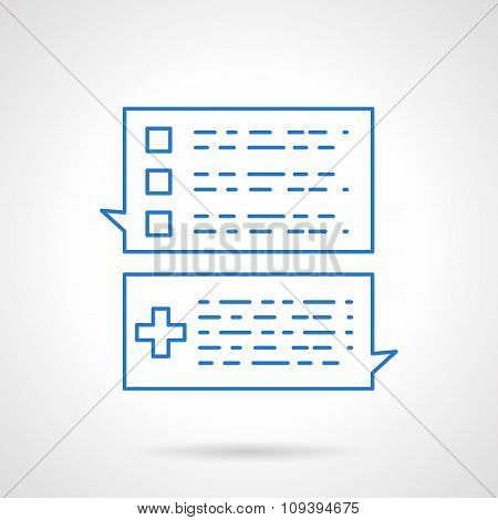 Business correspondence flat blue line vector icon