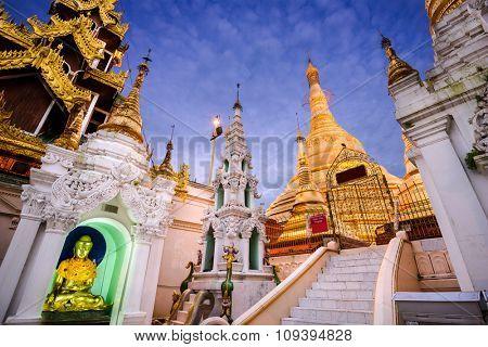 YANGON, MYANMAR - OCTOBER 17, 2015: Shwedagon Pagoda in Yangon. It is the most sacred temple in Myanmar.