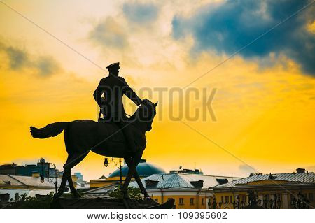 Silhouette of monument to Marshal Georgy Zhukov on red square in