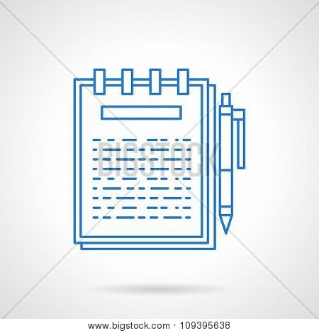 Ring notebook flat blue line vector icon.