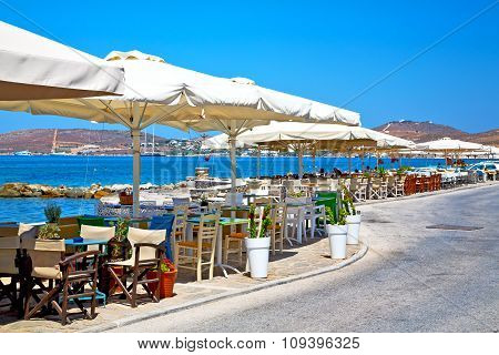 Table In Santorini   Restaurant Chair And The