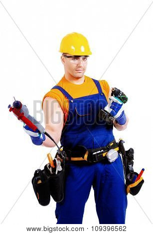 Portrait of an industrial worker posing with different emotions. Job, occupation. Isolated over white.