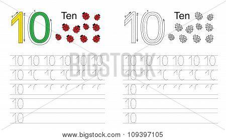 Tracing worksheet for figure ten
