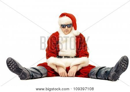 Bad Santa Claus. Isolated over white background. Christmas party, disco.