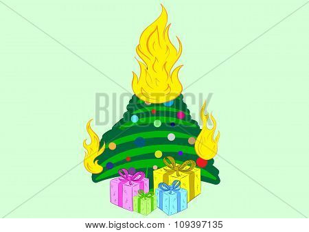 The burning Christmas tree