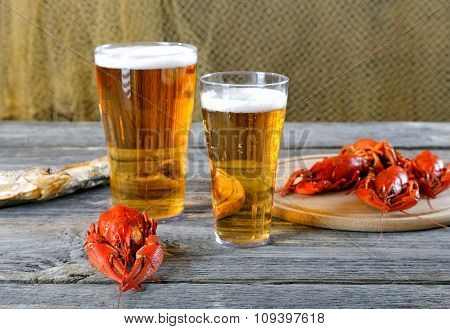 Tasty Boiled Crayfishes Vyaleny Fish And Beer On Old Table
