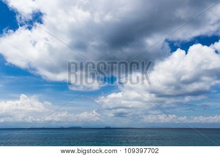Sky With Beautiful Clouds Over The Sea