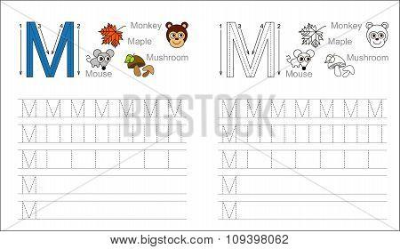 Tracing worksheet for letter M