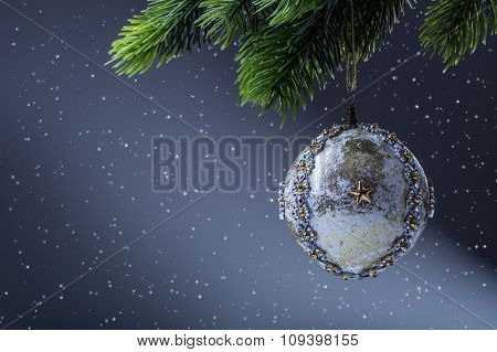 Christmas ball. Luxury christmas ball on christmas tree. Home made Christmas ball hanging