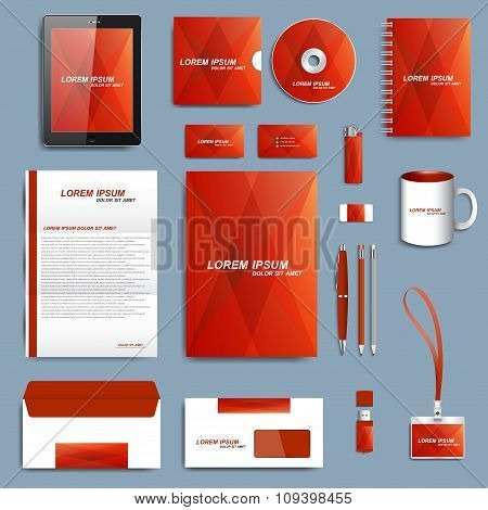 Set of vector corporate identity template. Modern business stationery mock-up  design