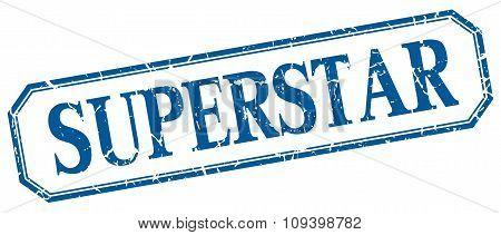 Superstar Square Blue Grunge Vintage Isolated Label