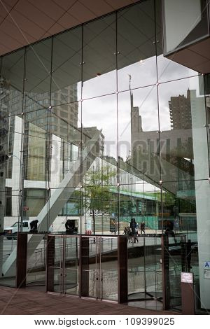 NEW YORK - August 23, 2014: Julliard school entrance, performing arts conservatory established in 1905