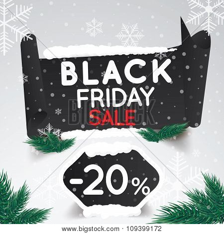 Black Friday Sale 20 Percent . Curved Paper Banner On Winter Background With Snow And Snowflakes. Wi
