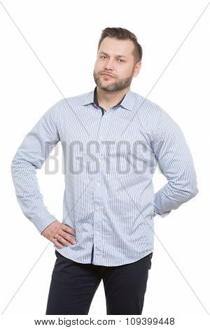 adult male with a beard. isolated on white background. aggressive man ready for action