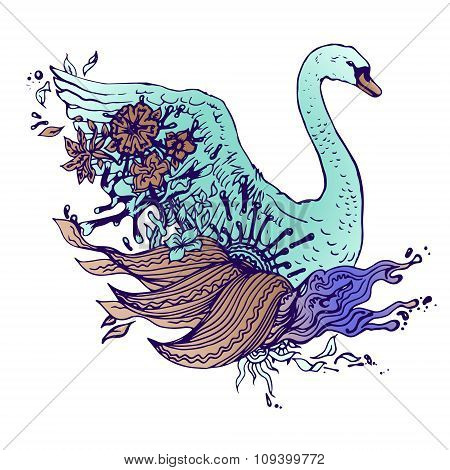 Abstract graphic colored swan, print.