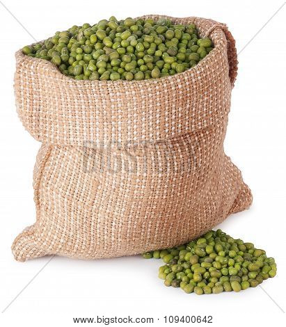 Mung Beans In A Burlap Bag  Isolate