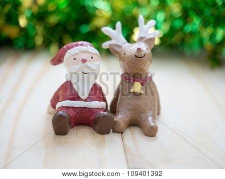 Santa Claus & Reindeer, Decoration Merry Christmas