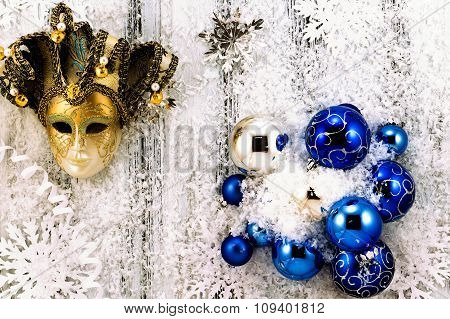 New Year Theme: Christmas Tree White And Silver Decorations, Blue Balls, Snow, Snowflakes, Serpentin