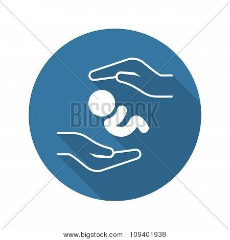 Postnatal Care Icon. Flat Design.