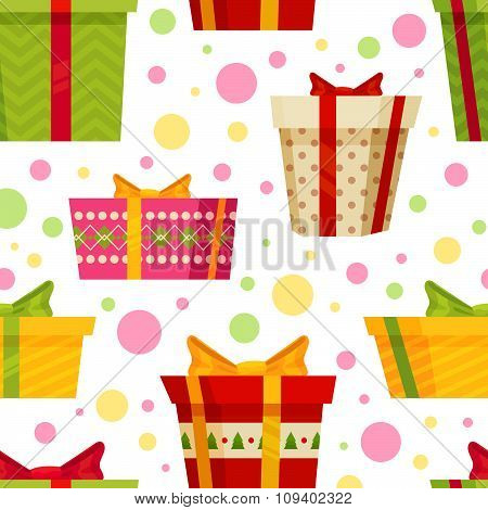 Seamless Cartoon Pattern With Gift Boxes
