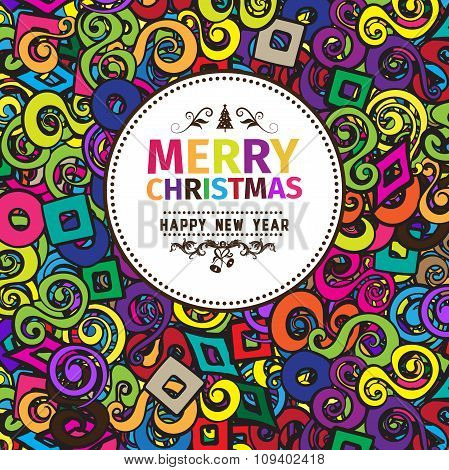 Multi colored colorful Christmas card and New Year greetings vector illustration