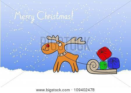 Christmas Reindeer With A Sleigh